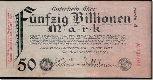 Cédula de 50 bilhões de marcos alemães de 1923
